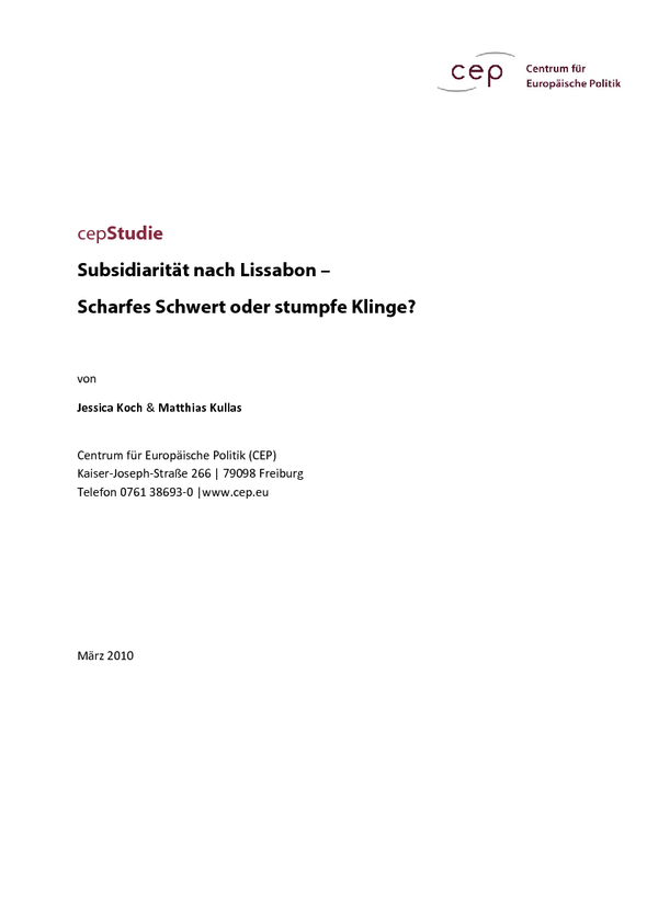 Cepstudie Subsidiarität Nach Lissabon Scharfes Schwert Oder